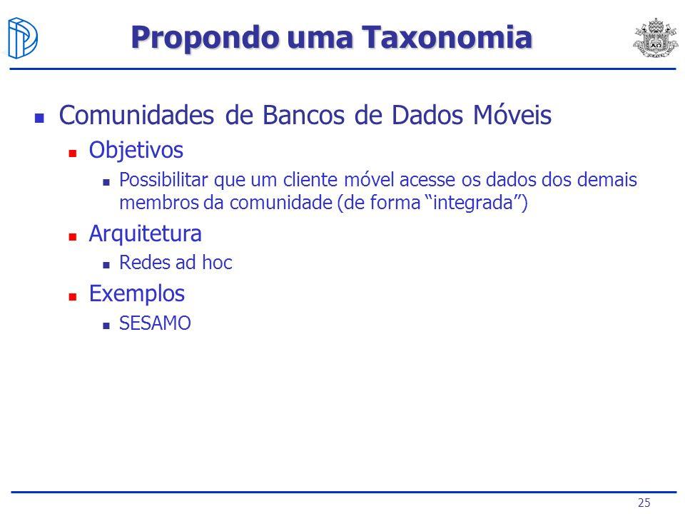 25 Comunidades de Bancos de Dados Móveis Objetivos Possibilitar que um cliente móvel acesse os dados dos demais membros da comunidade (de forma integrada) Arquitetura Redes ad hoc Exemplos SESAMO Propondo uma Taxonomia