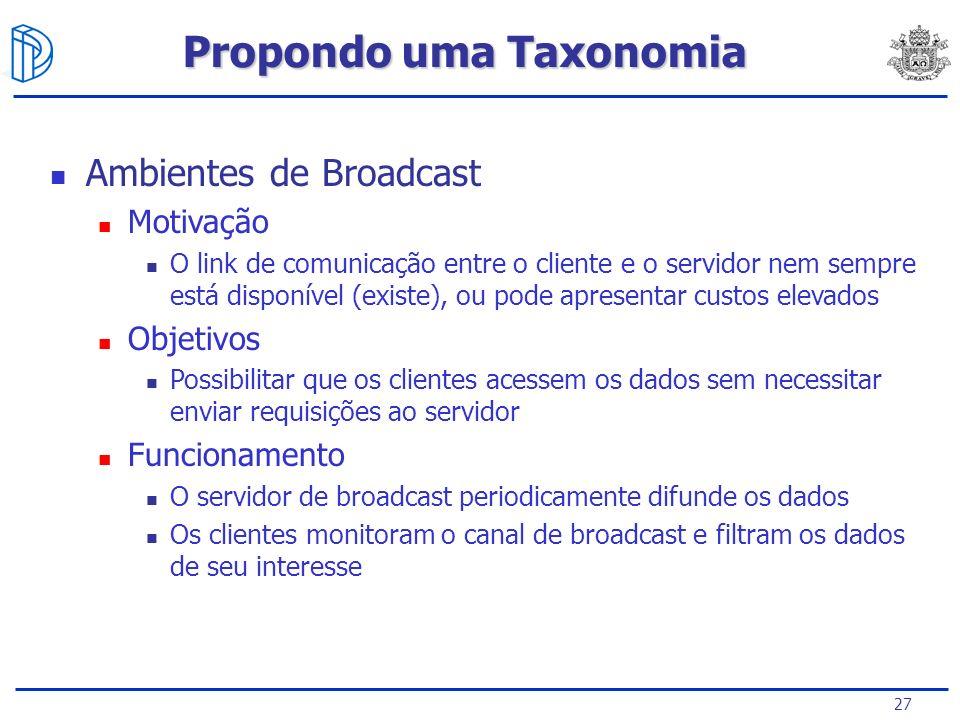 27 Ambientes de Broadcast Motivação O link de comunicação entre o cliente e o servidor nem sempre está disponível (existe), ou pode apresentar custos