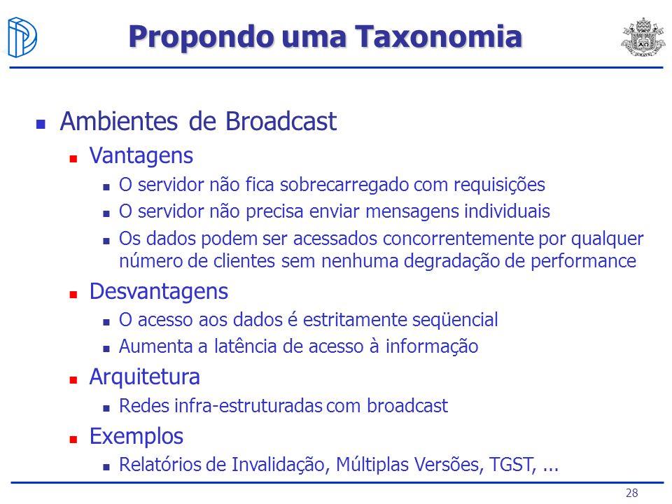 28 Ambientes de Broadcast Vantagens O servidor não fica sobrecarregado com requisições O servidor não precisa enviar mensagens individuais Os dados po