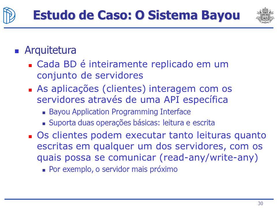 30 Estudo de Caso: O Sistema Bayou Arquitetura Cada BD é inteiramente replicado em um conjunto de servidores As aplicações (clientes) interagem com os