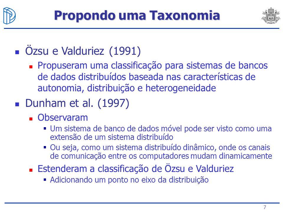 7 Özsu e Valduriez (1991) Propuseram uma classificação para sistemas de bancos de dados distribuídos baseada nas características de autonomia, distribuição e heterogeneidade Dunham et al.
