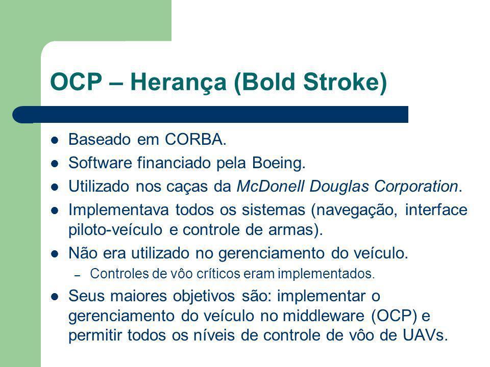 OCP – Herança (Bold Stroke) Baseado em CORBA. Software financiado pela Boeing. Utilizado nos caças da McDonell Douglas Corporation. Implementava todos