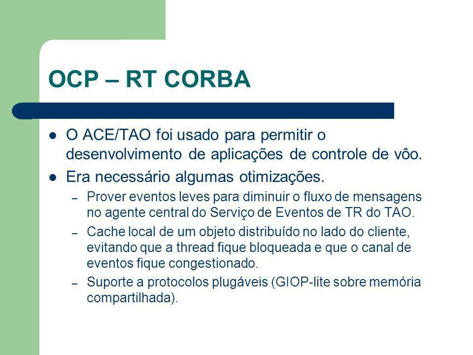 OCP – RT CORBA O ACE/TAO foi usado para permitir o desenvolvimento de aplicações de controle de vôo. Era necessário algumas otimizações. – Prover even