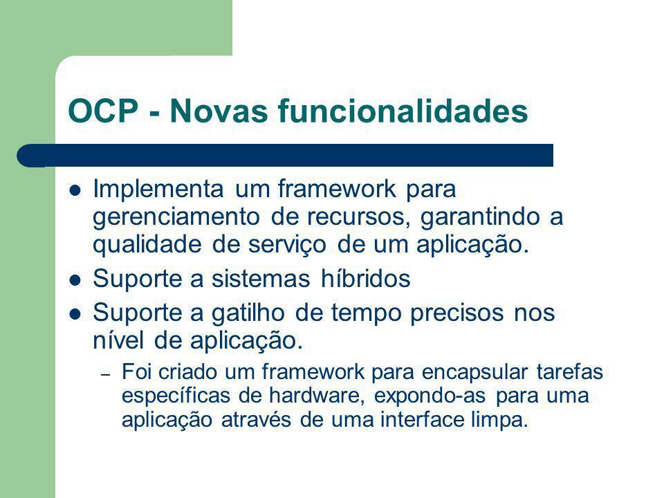 OCP - Novas funcionalidades Implementa um framework para gerenciamento de recursos, garantindo a qualidade de serviço de um aplicação. Suporte a siste
