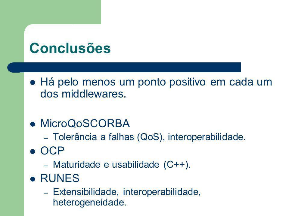 Conclusões Há pelo menos um ponto positivo em cada um dos middlewares. MicroQoSCORBA – Tolerância a falhas (QoS), interoperabilidade. OCP – Maturidade