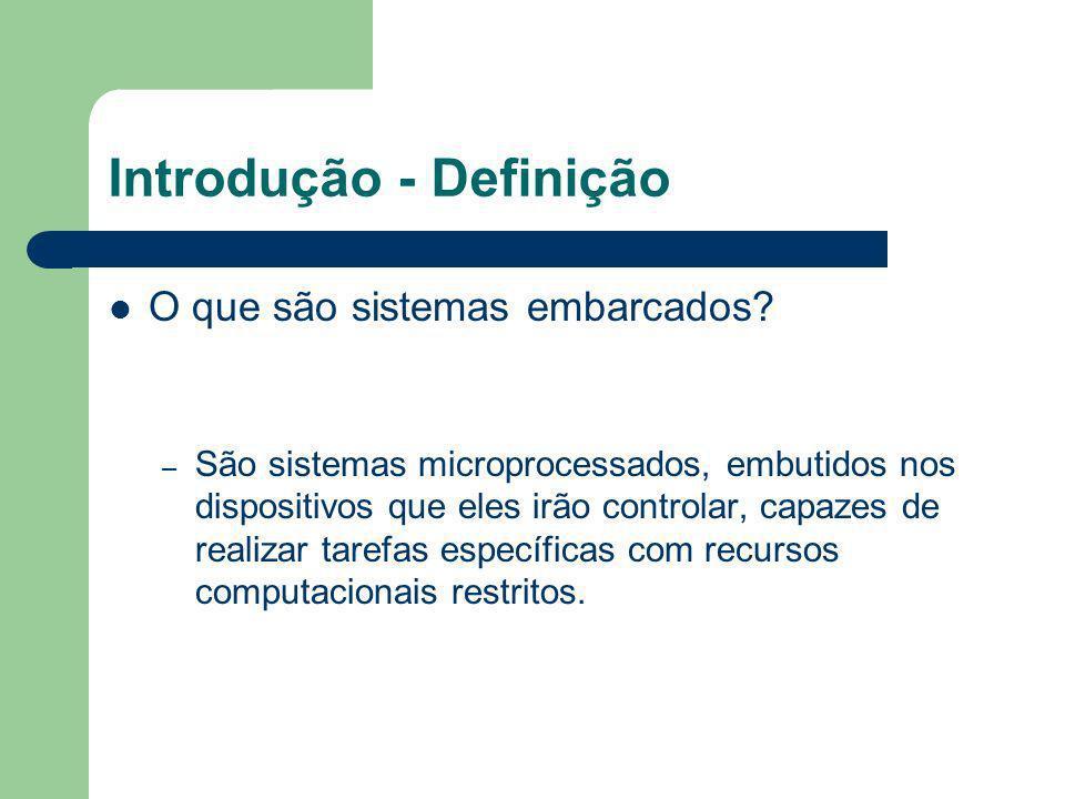 Introdução - Definição O que são sistemas embarcados? – São sistemas microprocessados, embutidos nos dispositivos que eles irão controlar, capazes de