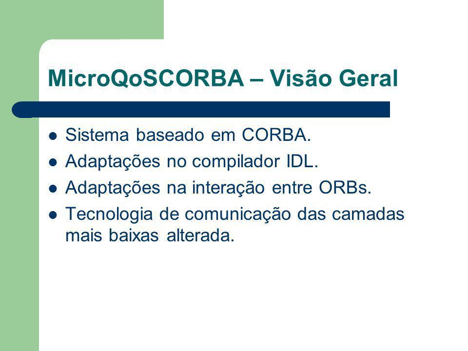 MicroQoSCORBA – Visão Geral Sistema baseado em CORBA. Adaptações no compilador IDL. Adaptações na interação entre ORBs. Tecnologia de comunicação das