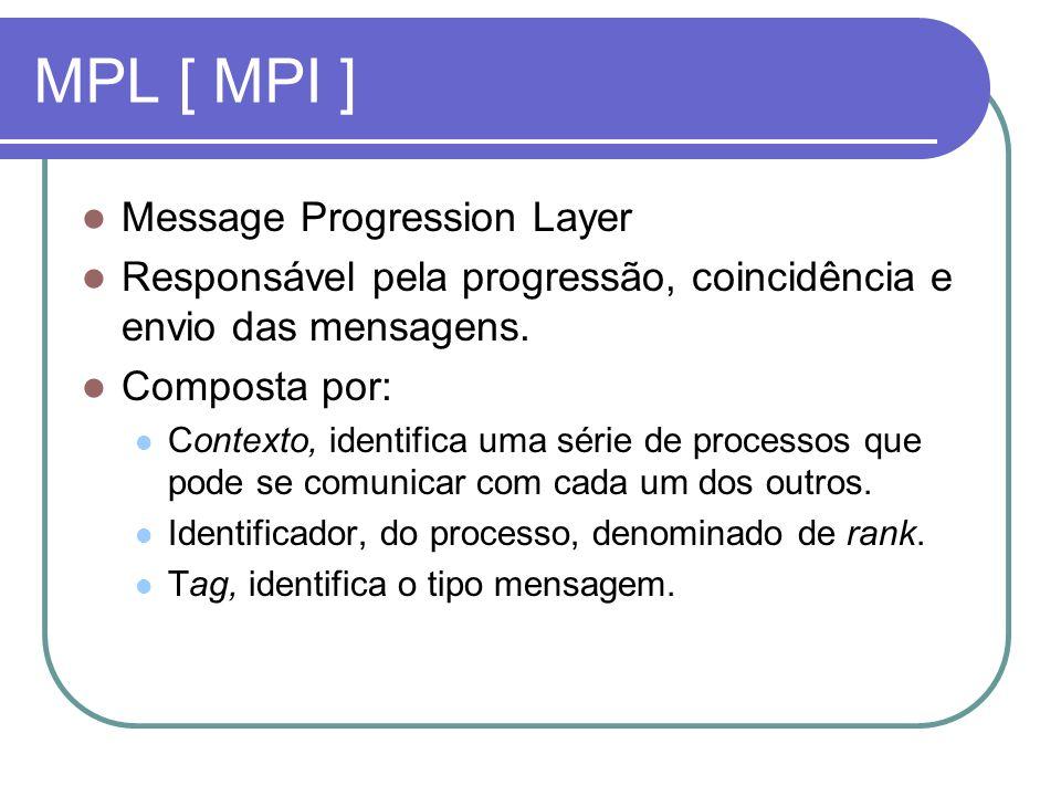 MPL [ MPI ] Message Progression Layer Responsável pela progressão, coincidência e envio das mensagens. Composta por: Contexto, identifica uma série de