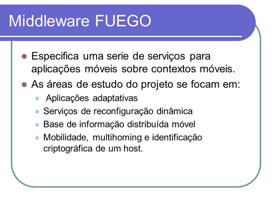 Middleware FUEGO Especifica uma serie de serviços para aplicações móveis sobre contextos móveis. As áreas de estudo do projeto se focam em: Aplicações