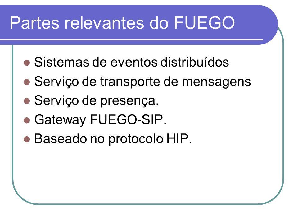 Partes relevantes do FUEGO Sistemas de eventos distribuídos Serviço de transporte de mensagens Serviço de presença. Gateway FUEGO-SIP. Baseado no prot