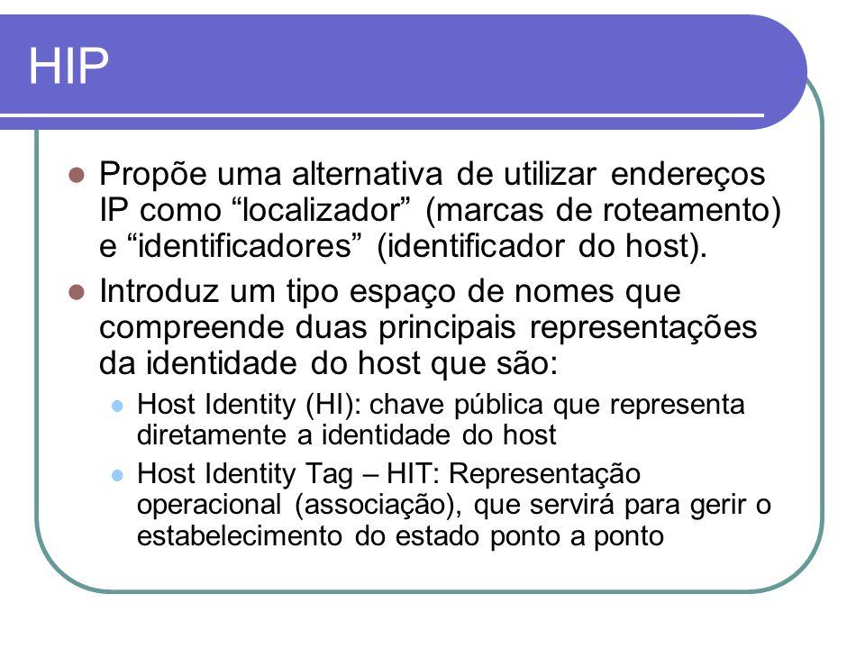 HIP Propõe uma alternativa de utilizar endereços IP como localizador (marcas de roteamento) e identificadores (identificador do host). Introduz um tip