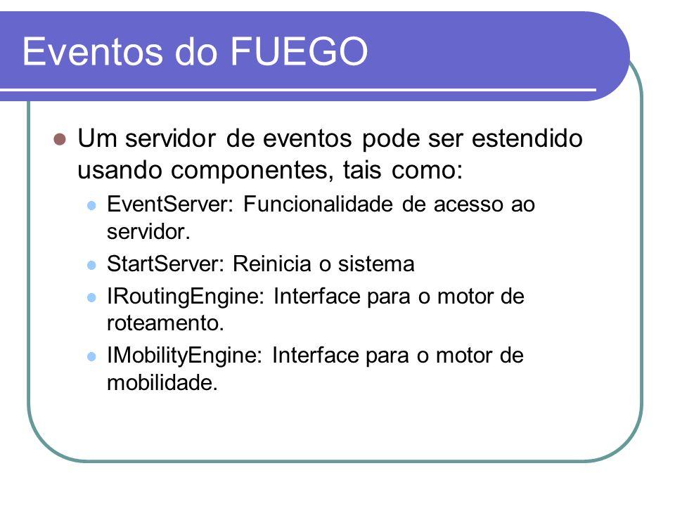 Eventos do FUEGO Um servidor de eventos pode ser estendido usando componentes, tais como: EventServer: Funcionalidade de acesso ao servidor. StartServ