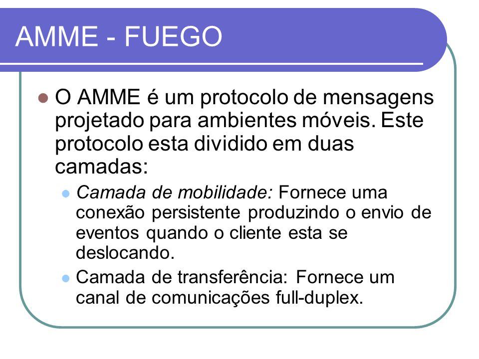 AMME - FUEGO O AMME é um protocolo de mensagens projetado para ambientes móveis. Este protocolo esta dividido em duas camadas: Camada de mobilidade: F