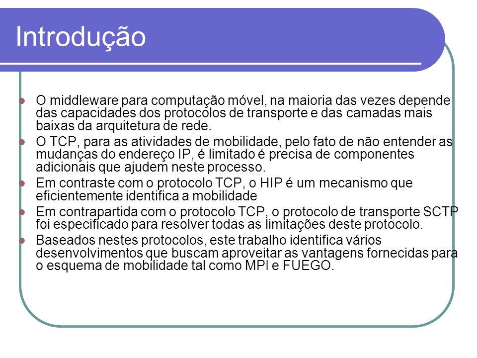 Introdução O middleware para computação móvel, na maioria das vezes depende das capacidades dos protocolos de transporte e das camadas mais baixas da