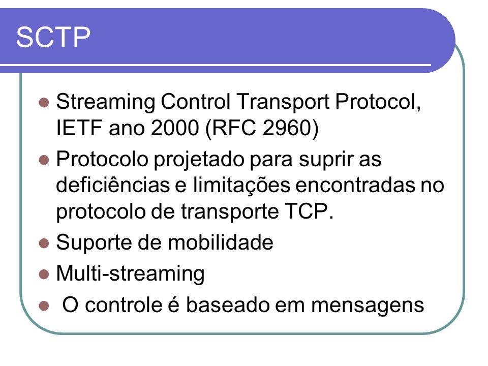 SCTP Streaming Control Transport Protocol, IETF ano 2000 (RFC 2960) Protocolo projetado para suprir as deficiências e limitações encontradas no protoc