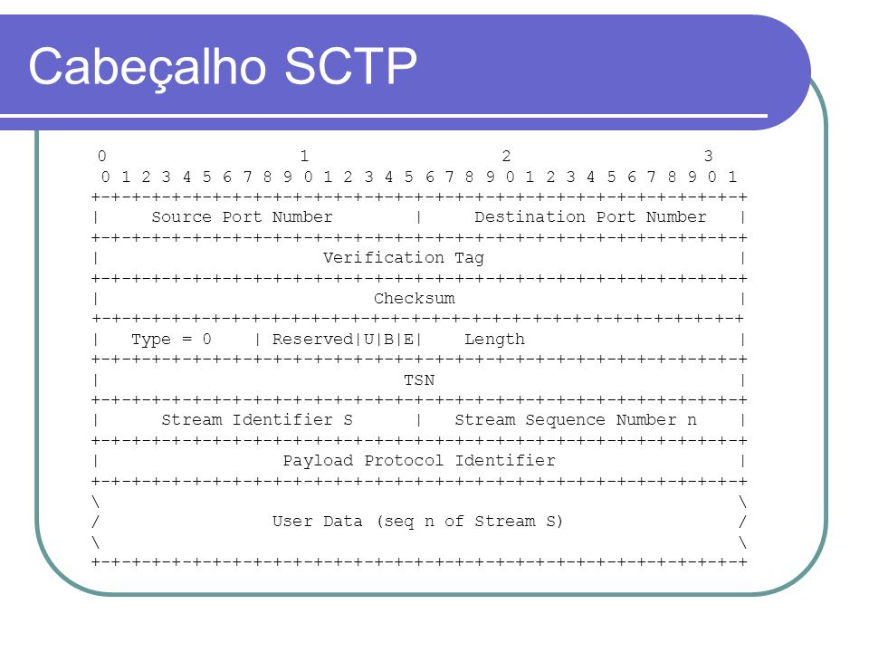 Cabeçalho SCTP 0 1 2 3 0 1 2 3 4 5 6 7 8 9 0 1 2 3 4 5 6 7 8 9 0 1 2 3 4 5 6 7 8 9 0 1 +-+-+-+-+-+-+-+-+-+-+-+-+-+-+-+-+-+-+-+-+-+-+-+-+-+-+-+-+-+-+-+