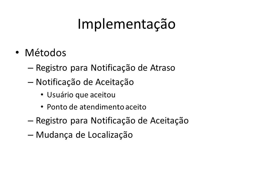 Implementação Métodos – Registro para Notificação de Atraso – Notificação de Aceitação Usuário que aceitou Ponto de atendimento aceito – Registro para