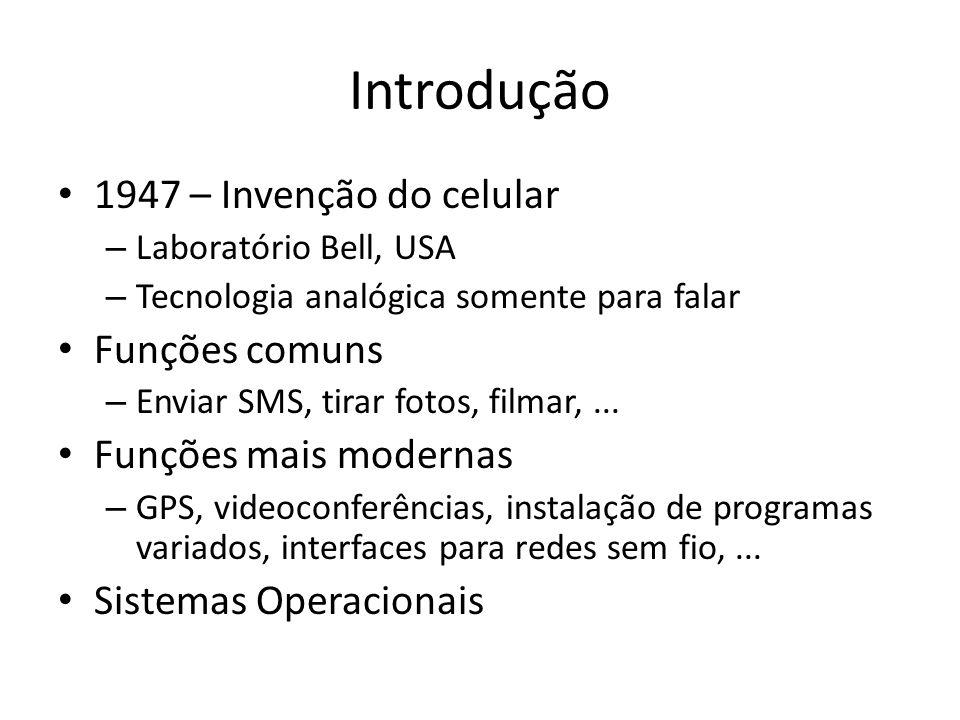 Introdução 1947 – Invenção do celular – Laboratório Bell, USA – Tecnologia analógica somente para falar Funções comuns – Enviar SMS, tirar fotos, film