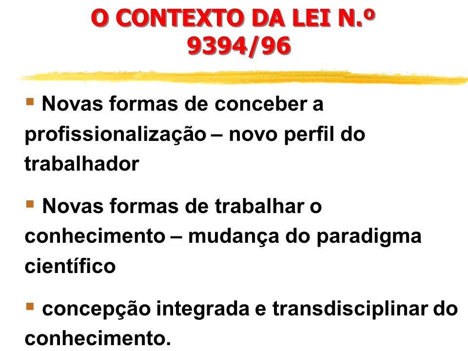 O CONTEXTO DA LEI N. º 9394/96 Novas tecnologias e novas formas de organiza ç ão do processo produtivo. Grandes redes de comunica ç ão global. Recompo