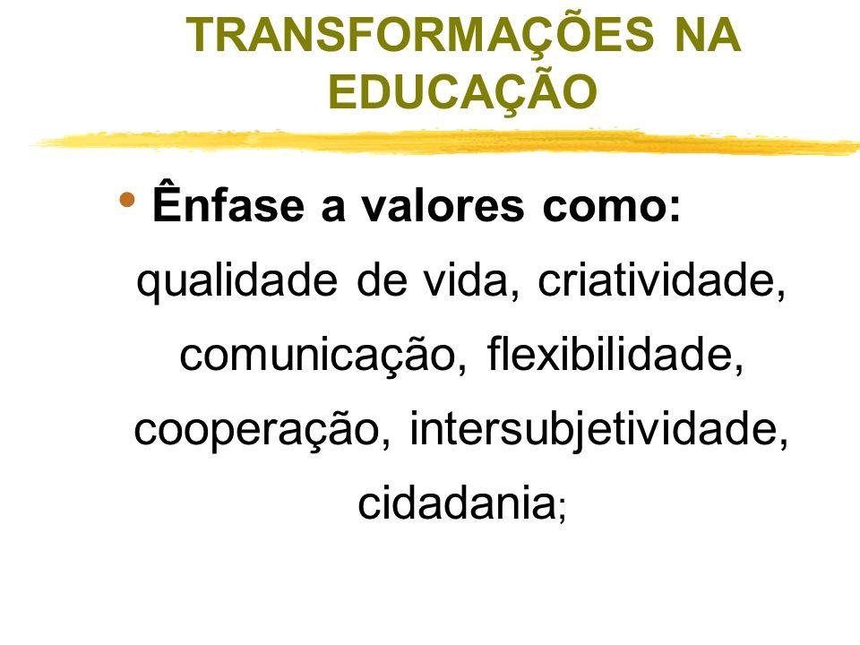 TRANSFORMAÇÕES NA EDUCAÇÃO Busca de um novo padrão educacional; Busca de novas metodologias; Valorização crescente de um tipo de conhecimento que só s