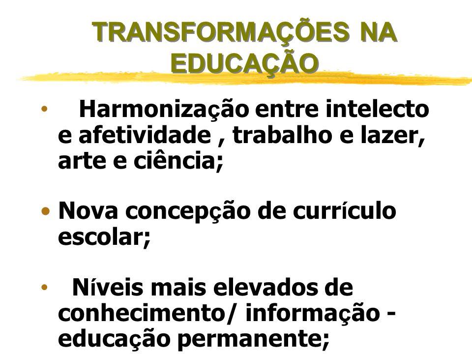 TRANSFORMAÇÕES NA EDUCAÇÃO Ênfase a valores como: qualidade de vida, criatividade, comunicação, flexibilidade, cooperação, intersubjetividade, cidadan