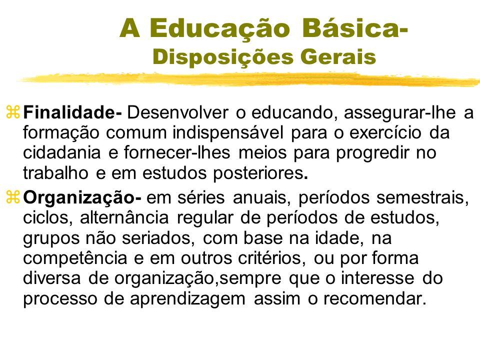 LDBEN - Dos Níveis e das Modalidades de Educação e Ensino zDa composição dos Níveis Escolares yEducação Básica – xEducação Infantil xEnsino Fundamenta