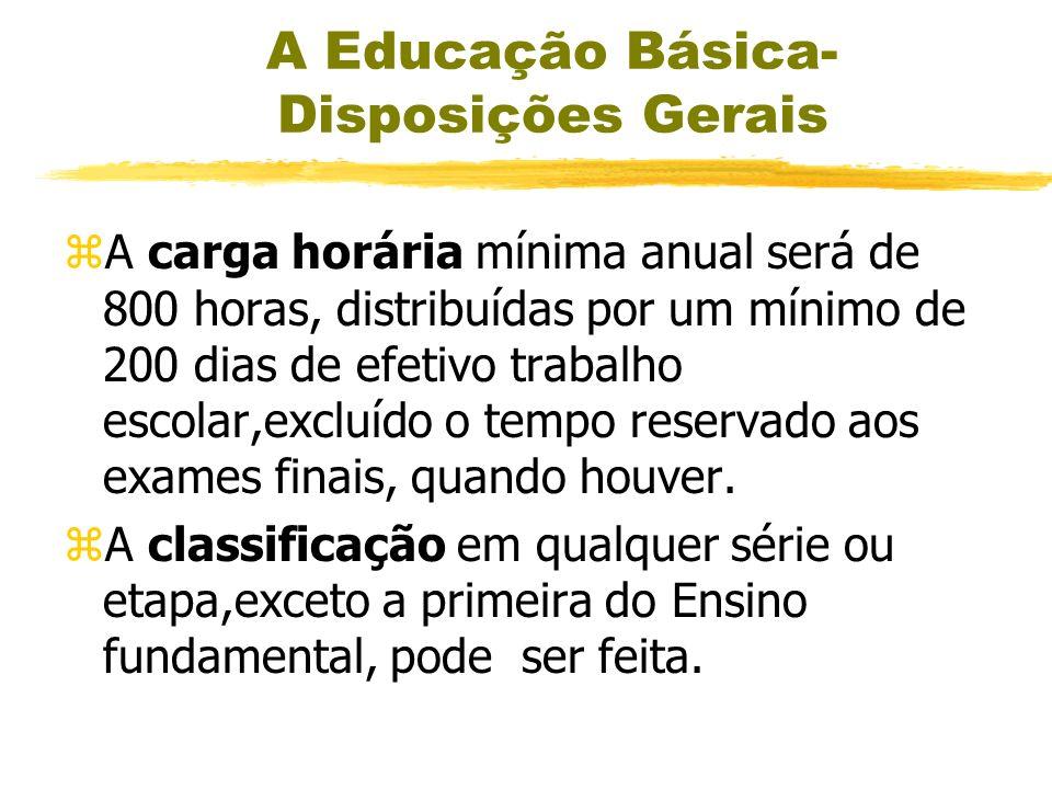 A Educação Básica- Disposições Gerais zReclassificação- a escola poderá reclassificar os alunos, inclusive quando se tratar de transferências entre es