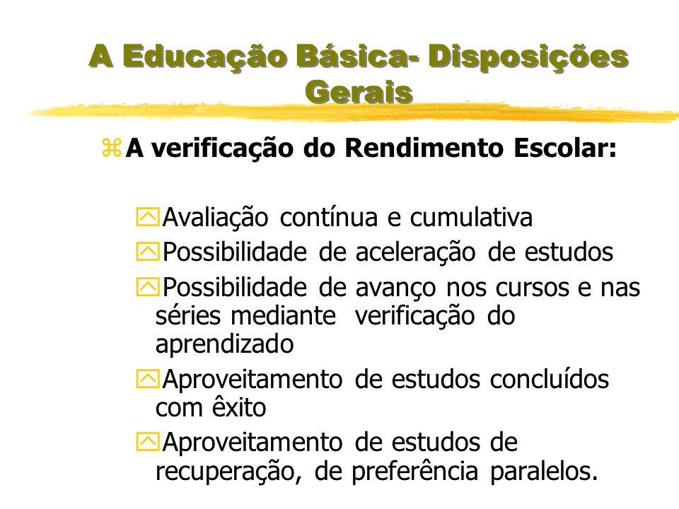 A Educação Básica- Disposições Gerais yPor promoção yPor transferência yIndependentemente a escolarização anterior,mediante avaliação feita pela escol