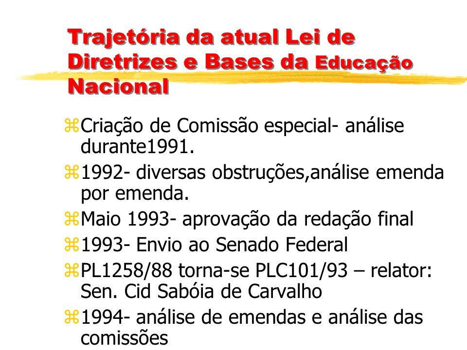 Trajetória da atual Lei de Diretrizes e Bases da Educação Nacional zDiscussão inicial em 1986- Carta de Goiânia- IV Conferência Brasileira de Educação