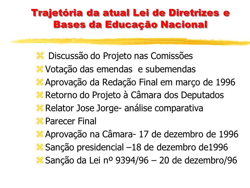 Trajetória da atual Lei de Diretrizes e Bases da Educação Nacional zMarço1995 – projeto vai à Comissão de Constituição e Justiça – argumento do relato
