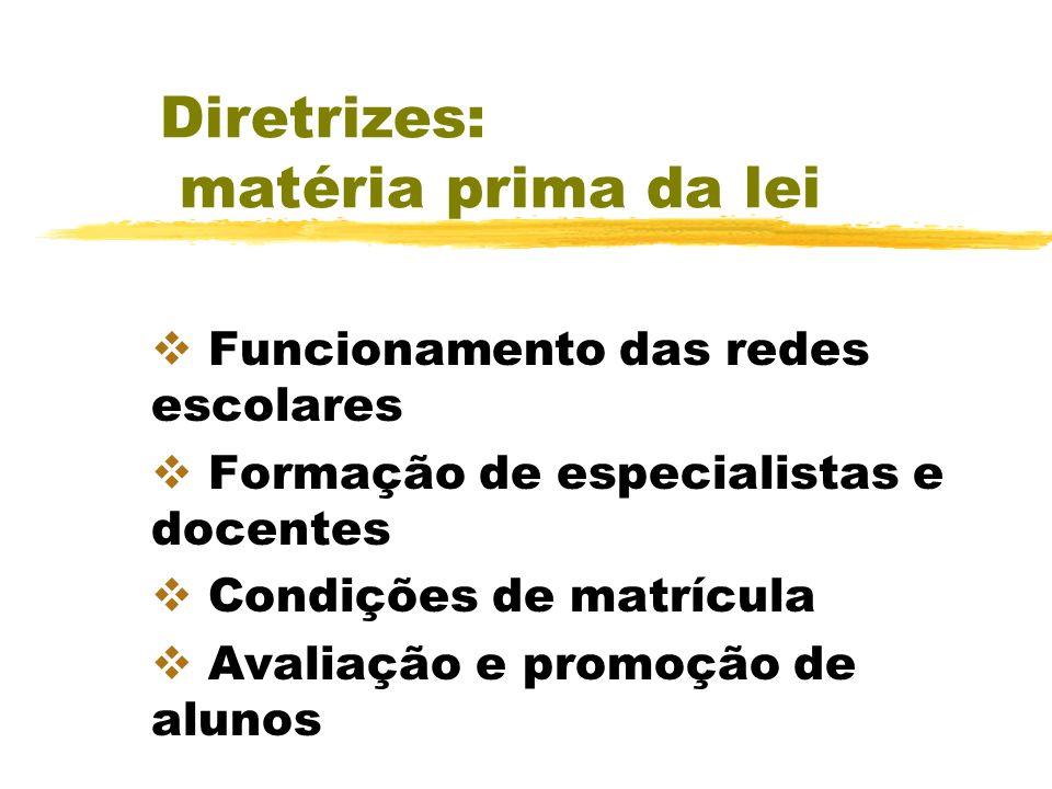 Diretrizes: matéria prima da lei Funcionamento das redes escolares Formação de especialistas e docentes Condições de matrícula Avaliação e promoção de alunos