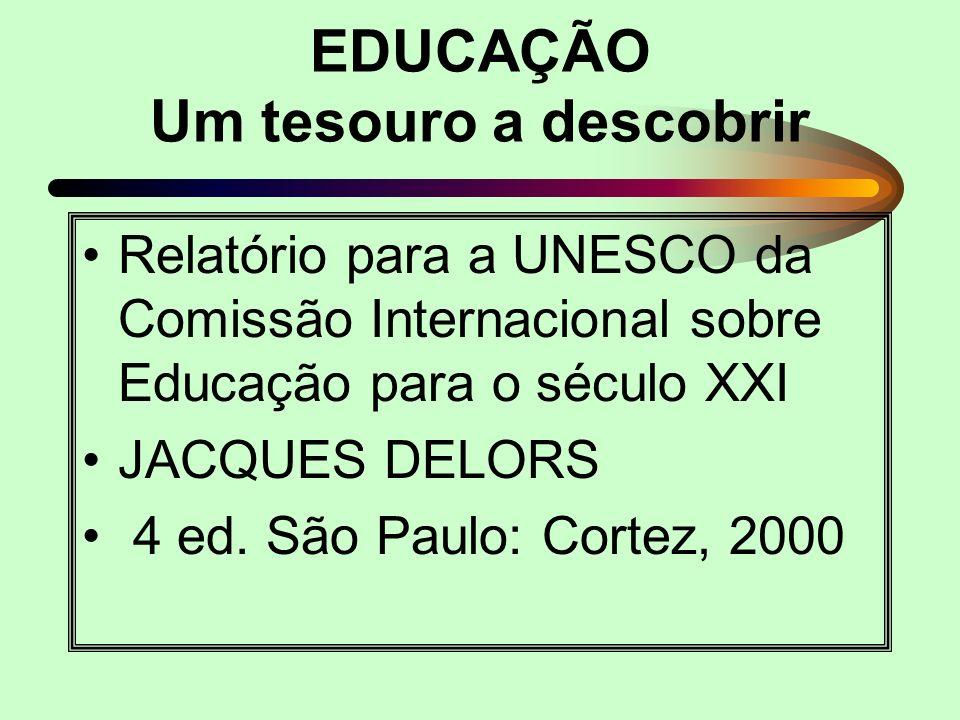 EDUCAÇÃO Um tesouro a descobrir Relatório para a UNESCO da Comissão Internacional sobre Educação para o século XXI JACQUES DELORS 4 ed. São Paulo: Cor