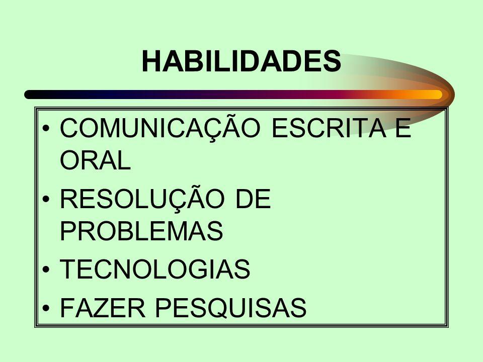 HABILIDADES COMUNICAÇÃO ESCRITA E ORAL RESOLUÇÃO DE PROBLEMAS TECNOLOGIAS FAZER PESQUISAS