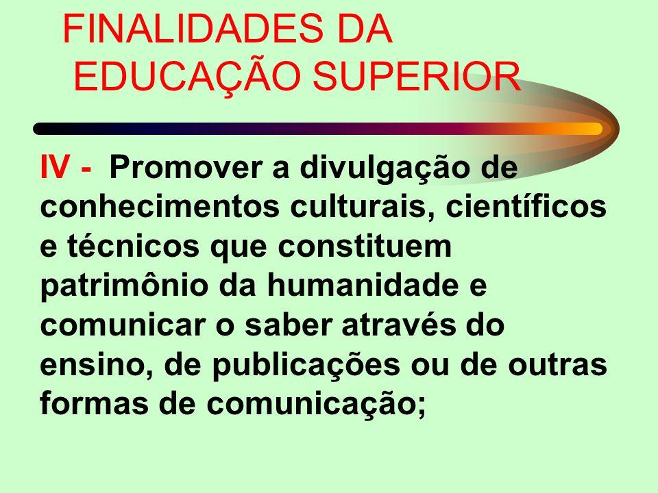 V - Suscitar FINALIDADES DA EDUCAÇÃO SUPERIOR