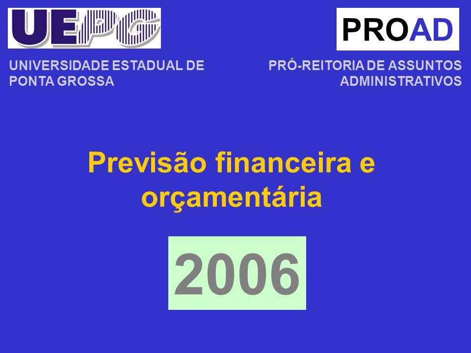 Previsão financeira e orçamentária PROAD PRÓ-REITORIA DE ASSUNTOS ADMINISTRATIVOS 2006 UNIVERSIDADE ESTADUAL DE PONTA GROSSA