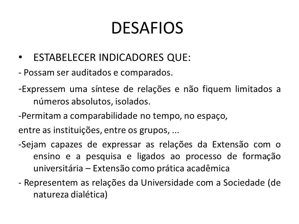 DESAFIOS ESTABELECER INDICADORES QUE: - Possam ser auditados e comparados.