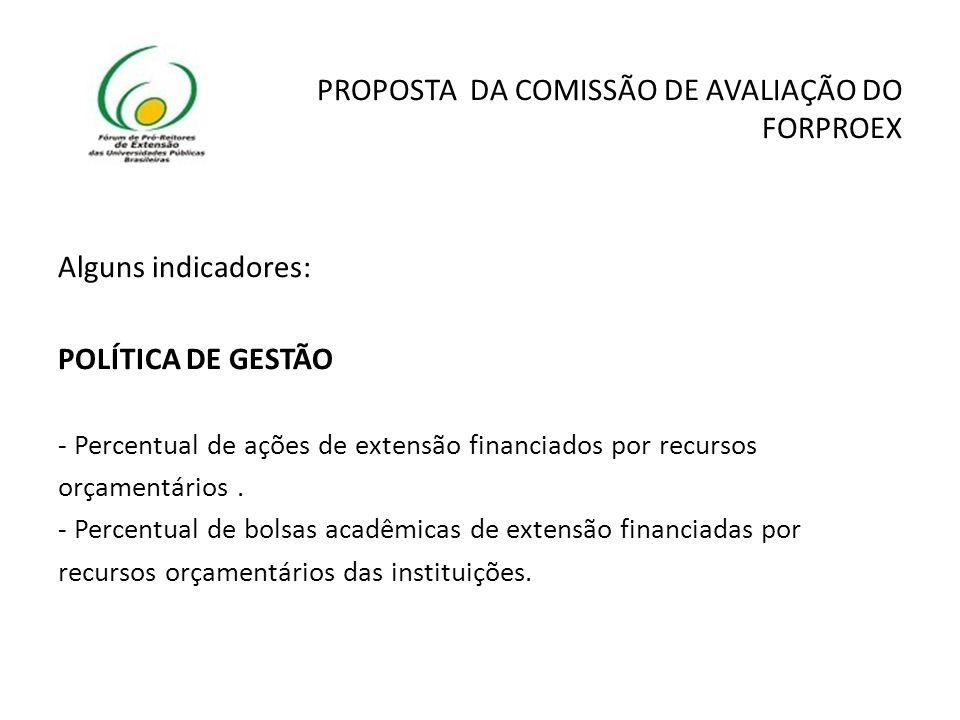 PROPOSTA DA COMISSÃO DE AVALIAÇÃO DO FORPROEX Alguns indicadores: POLÍTICA DE GESTÃO - Percentual de ações de extensão financiados por recursos orçamentários.