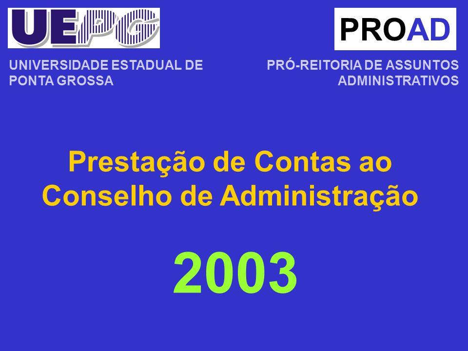 Prestação de Contas ao Conselho de Administração PROAD PRÓ-REITORIA DE ASSUNTOS ADMINISTRATIVOS 2003 UNIVERSIDADE ESTADUAL DE PONTA GROSSA
