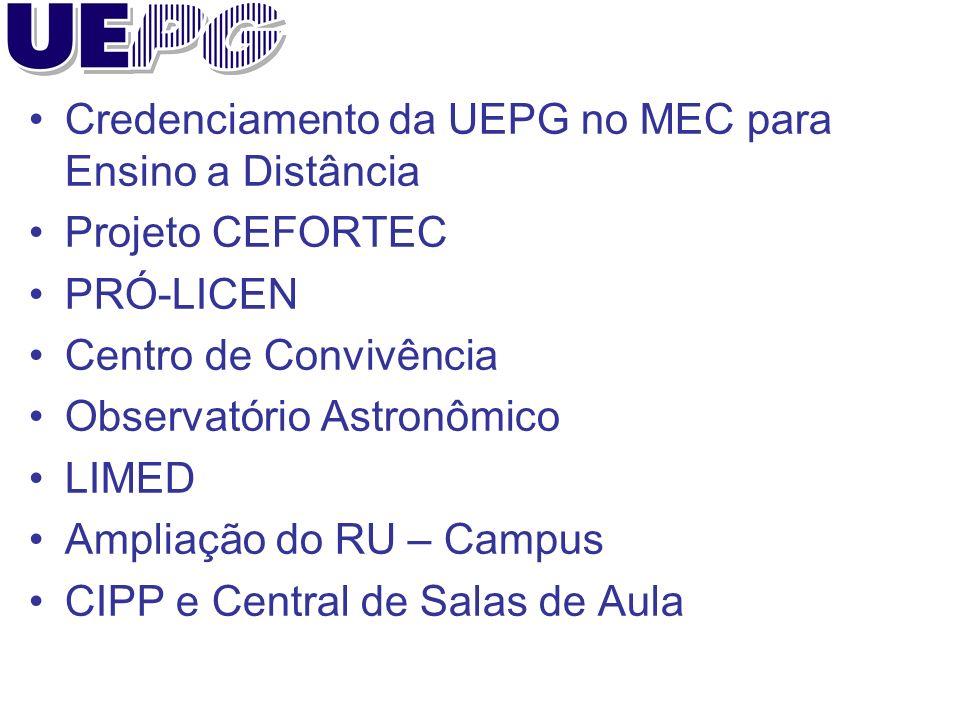Credenciamento da UEPG no MEC para Ensino a Distância Projeto CEFORTEC PRÓ-LICEN Centro de Convivência Observatório Astronômico LIMED Ampliação do RU – Campus CIPP e Central de Salas de Aula