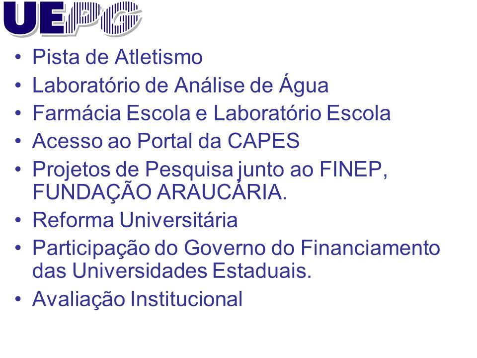 Pista de Atletismo Laboratório de Análise de Água Farmácia Escola e Laboratório Escola Acesso ao Portal da CAPES Projetos de Pesquisa junto ao FINEP, FUNDAÇÃO ARAUCÁRIA.