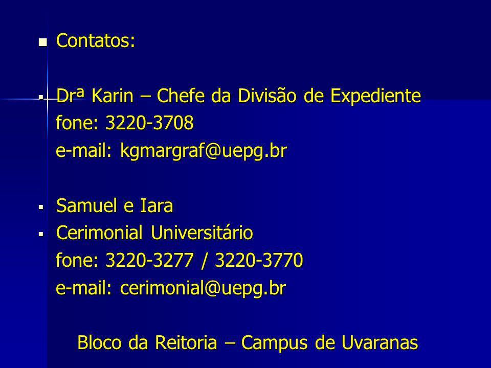 Contatos: Contatos: Drª Karin – Chefe da Divisão de Expediente Drª Karin – Chefe da Divisão de Expediente fone: 3220-3708 fone: 3220-3708 e-mail: kgma