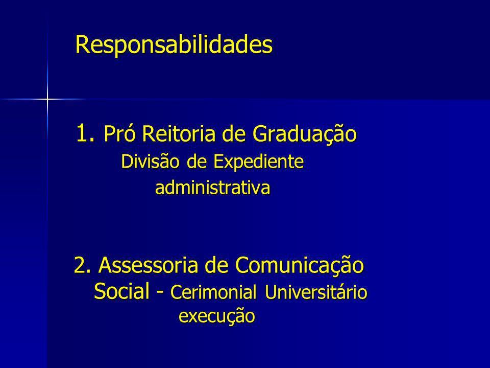 Responsabilidades 1. Pró Reitoria de Graduação Divisão de Expediente administrativa 2. Assessoria de Comunicação Social - Cerimonial Universitário exe