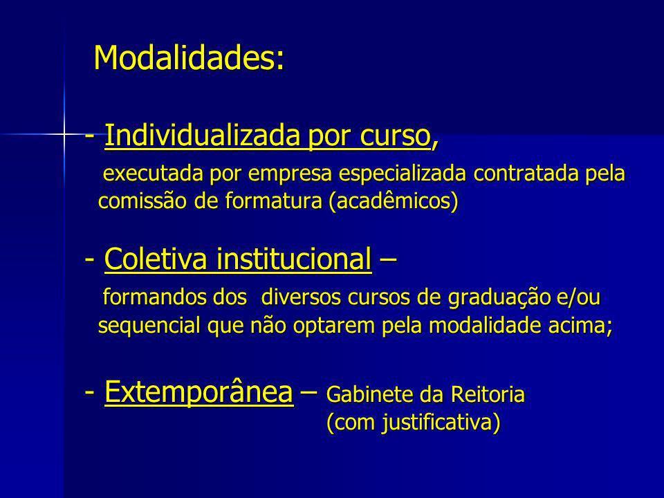 Modalidades: - Individualizada por curso, executada por empresa especializada contratada pela comissão de formatura (acadêmicos) - Coletiva institucio