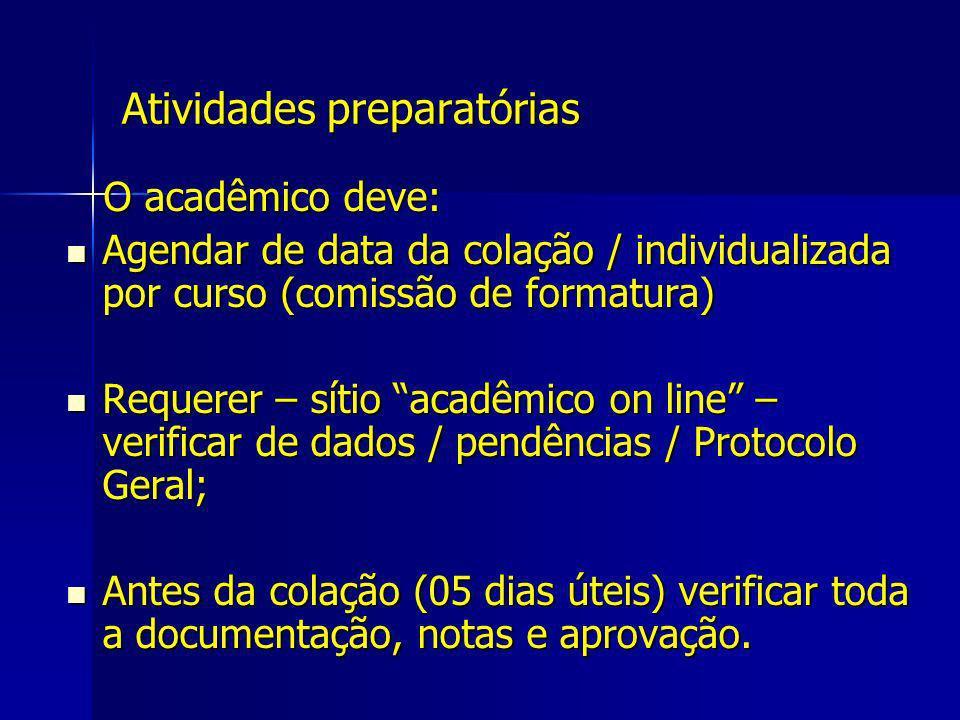 Atividades preparatórias O acadêmico deve: O acadêmico deve: Agendar de data da colação / individualizada por curso (comissão de formatura) Agendar de