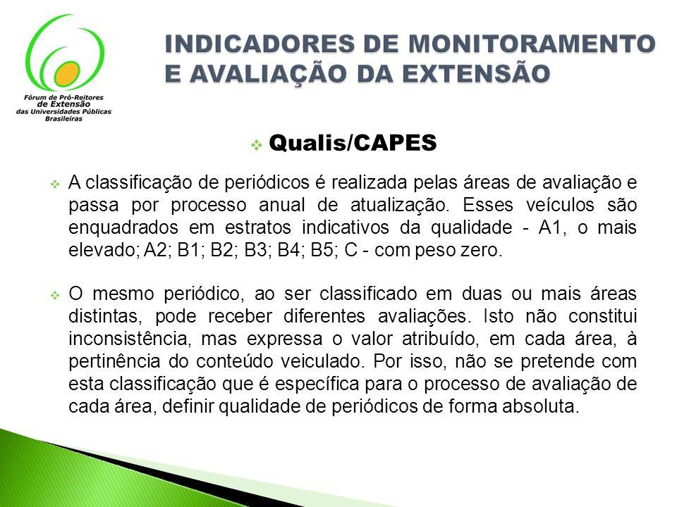 Qualis/CAPES A classificação de periódicos é realizada pelas áreas de avaliação e passa por processo anual de atualização. Esses veículos são enquadra