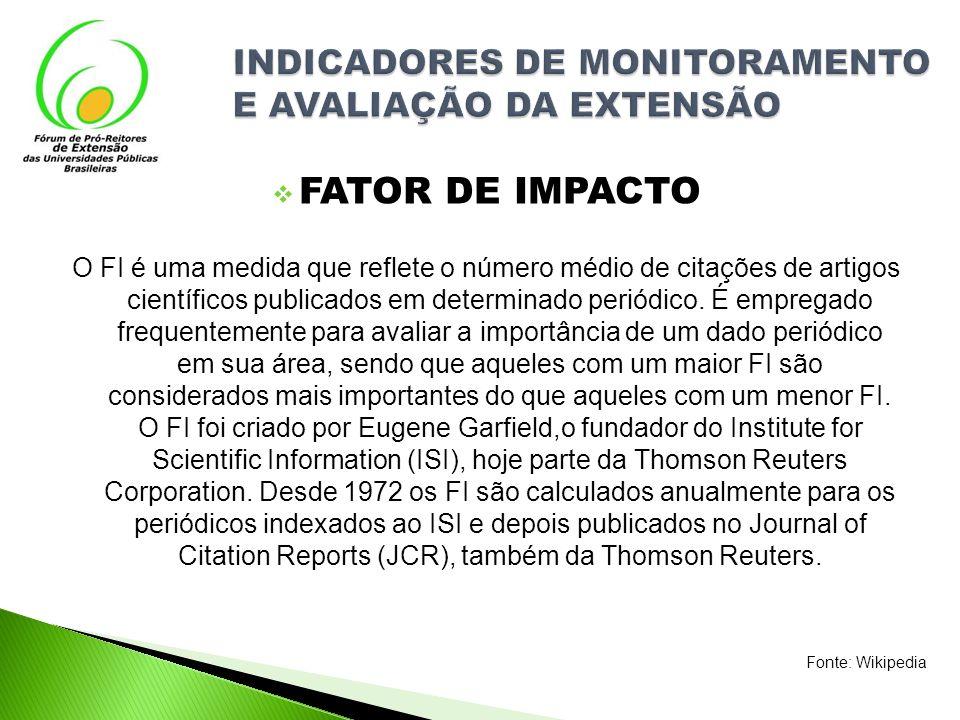 FATOR DE IMPACTO O FI é uma medida que reflete o número médio de citações de artigos científicos publicados em determinado periódico. É empregado freq