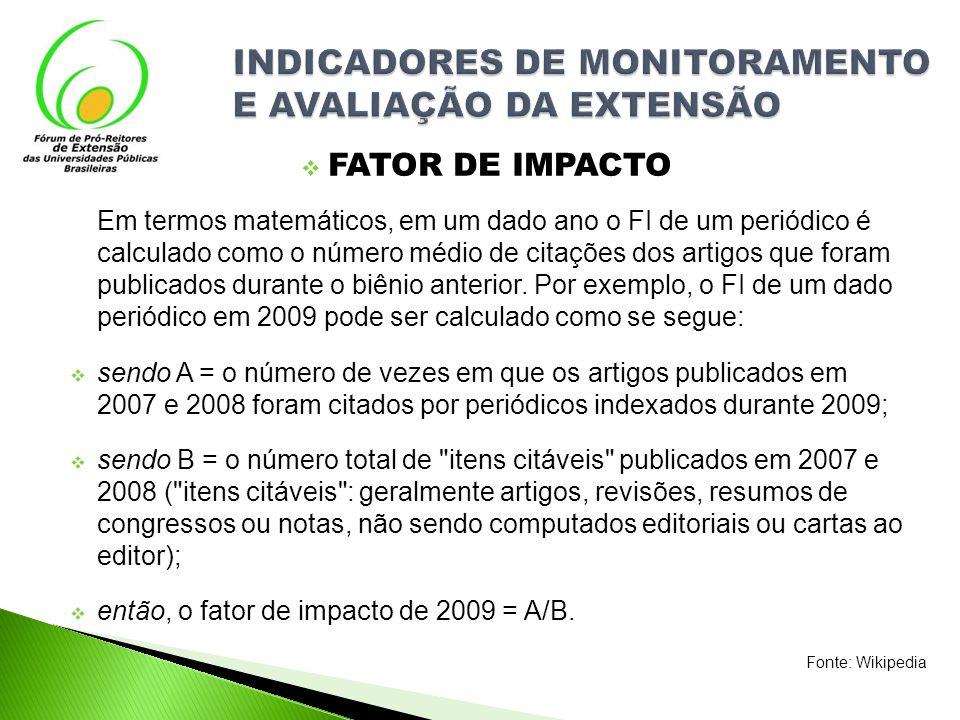 FATOR DE IMPACTO Em termos matemáticos, em um dado ano o FI de um periódico é calculado como o número médio de citações dos artigos que foram publicad
