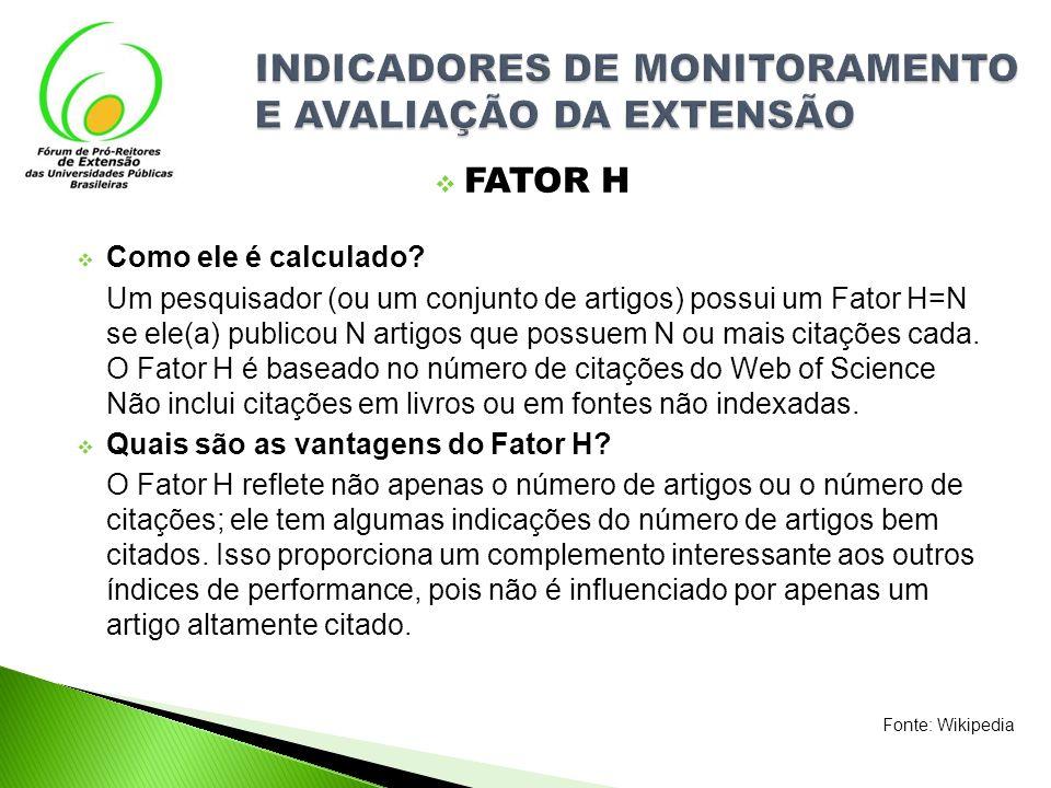 FATOR H Como ele é calculado? Um pesquisador (ou um conjunto de artigos) possui um Fator H=N se ele(a) publicou N artigos que possuem N ou mais citaçõ