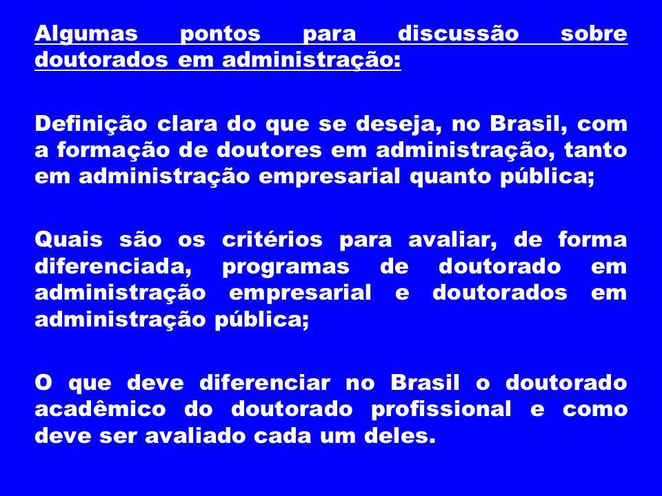 Algumas pontos para discussão sobre doutorados em administração: Definição clara do que se deseja, no Brasil, com a formação de doutores em administra