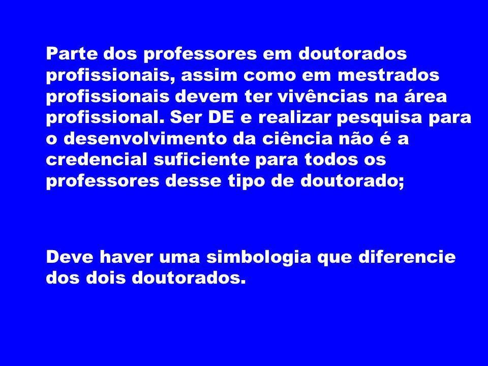 Parte dos professores em doutorados profissionais, assim como em mestrados profissionais devem ter vivências na área profissional. Ser DE e realizar p
